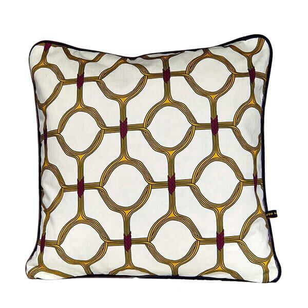 Ojo yellow cushion by Eva Sonaike RenkoLondon
